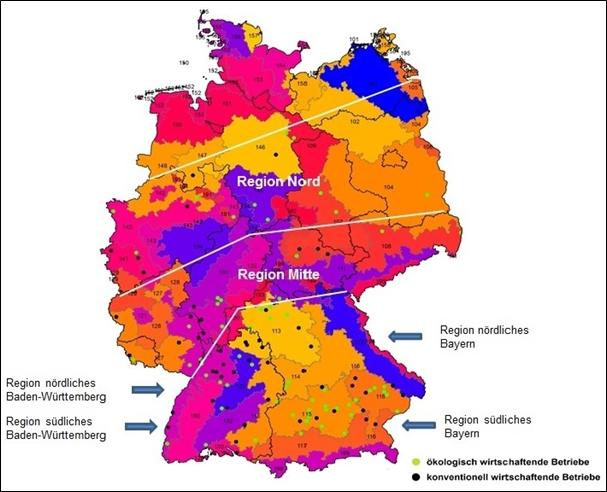 Abbildung 2: Verteilung der im Soja-Netzwerk teilnehmenden Betriebe innerhalb Deutschlands sowie Aufteilung in 6 verschiedene Regionen. Farbgebung und Nummerierung nach Boden-Klima-Räumen (siehe Link: http://geoportal.jki.bund.de/index.htm, 29.07.2016). Quelle: Julius Kühn-Institut (JKI) (2007); Sächsisches Landesamt für Umwelt, Landwirtschaft und Geologie (LfULG) (2012); Bundesamt für Kartographie und Geodäsie (BKG) (2014); Kartenerstellung: Bayerische Landesanstalt für Landwirtschaft (LfL) (2014)